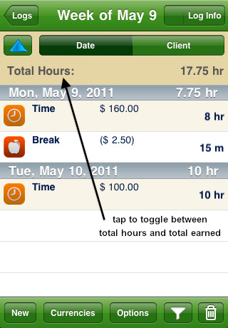 TimeTracker for iPhone Screenshot
