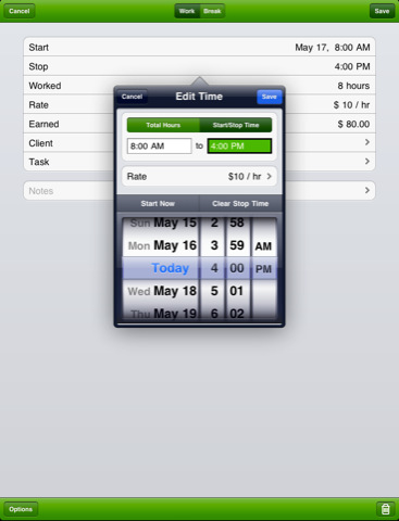 TimeTracker iPad Screenshot