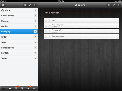 Wunderlist for iPad